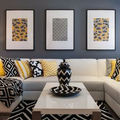 Modern Minimalist House Design in Black and White Color Scheme Grey And Yellow Living Room, Living Room Colors, Living Room Decor, Room Interior, Interior Design Living Room, Living Room Designs, Black Room Decor, Bedroom Black, Bedroom Yellow