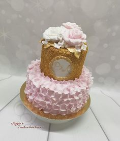 Torte zur Verlobungsfeier in gold rosa weiß Birthday Cake, Desserts, Gold, Engagement Celebration, Pies, Wedding, Tailgate Desserts, Birthday Cakes, Deserts