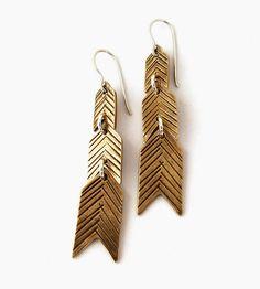 Feathervane Bronze Chevron Earrings by Laurel Hill Jewelry