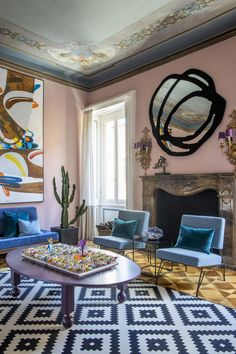 〚 Colorful eclectic interiors of old palazzo in Brescia, Italy 〛 ◾ Photos ◾ Ideas ◾ Design #livingroom #modern #classic #eclectic #interiordesign #homedecor #ideas #inspiration #tips #cozy #living #style #space #interior #decor Top Interior Designers, Architectural Digest, Palazzo, Bold Colors, Interior Styling, Living Room, Cozy Living, Italy, Architecture