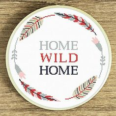 Home cross stitch pattern Tribal xstitch Home sweet home embroidery Feathers and flowers wreath