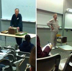 Estos profesores fueron a clase en pijama para protestar por los exámenes finales puestos a las 7 de la mañana