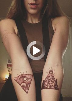 Brown ink geometric nature waves mountain river triangle forearm tattoo #forearmtattoos Forearm Flower Tattoo, Small Forearm Tattoos, Flower Tattoos, Small Tattoos, Brown Tattoo Ink, Desert Tattoo, Cute Ankle Tattoos, Browning Tattoo, Geometric Nature