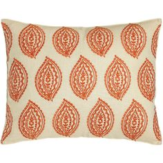 Trina Turk Catalina Paisley Pillow with Orange Embroidery (1.295.130 IDR) ❤ liked on Polyvore featuring home, home decor, throw pillows, orange home decor, embroidered throw pillows, orange toss pillows, orange home accessories and orange accent pillows