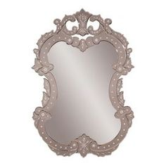 """Rococo-style Venetian glass wall mirror with etched details.    Product: Wall mirrorConstruction Material: Venetian glassColor: SilverFeatures:  Intricate motifs are cut from back of the glassReflects amazing detail and workmanship Dimensions: 40"""" H x 28"""" W"""