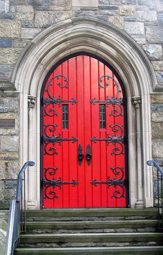 Red Church Door with Ornate Details