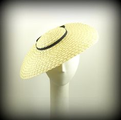 Saucer Hat for Women 1920s Fashion Hat Natural Straw Hat w Black Grosgrain Bow  $145.00