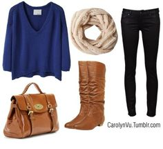 50,000 of the same outfit on pinterest. Big sweater, leggings, boots, infinity scarf, satchel bag. Boring!