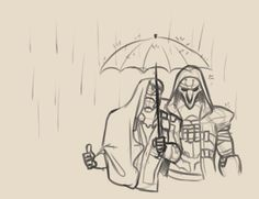 Anonymous said: how about reaper76 + under an umbrella (because cute potential) OR something sad (because I love dying and being dead) Answer:
