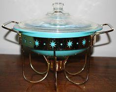 "Vintage Pyrex 1 1/2"" QT Turquoise Aqua Casserole & Lid w/Starburst Candle Warmer"