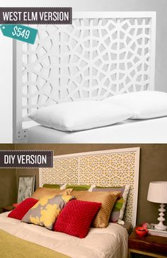 Build a geometric cutout headboard. From: 24 West Elm Hacks Furniture Projects, Home Projects, Home Crafts, Diy Furniture, Decoration Bedroom, Diy Home Decor, West Elm, White Headboard, Queen Headboard