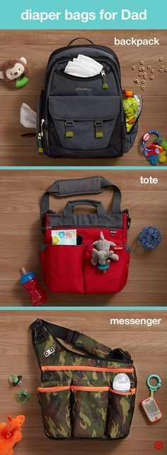 You have your beautiful Petunia Pickle Bottom diaper bag, but what about Dad? He'll want his own diaper bag that's cool, masculine and makes his life as a parent easier. Check out the tote, backpack and messenger style diaper bags from Skip Hop and Diaper Dudes. They all feature the look he wants with large pockets that hold all Baby's essentials, bottle holders, changing pad, and easy-to-use stroller straps for life on the go. It's a perfect addition to your Target Baby Registry.