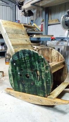 Recycled cable drum rocking chair.