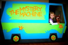 We made this Scooby-Doo Mystery Machine photo prop from cardboard! Super fun for her party! Drawing tips on the link!