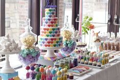 57 Trendy Ideas birthday party food table set up dessert buffet Rainbow Birthday Party, Birthday Celebration, Birthday Parties, Dessert Buffet, Candy Buffet, Buffet Set, Rainbow Desserts, Birthday Breakfast, Birthday Gifts For Teens