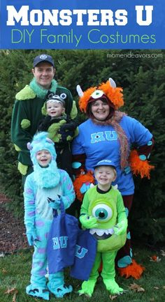 DIY Monsters University Family Themed Costumes (plus links to over 80 more AWESOME Handmade Halloween costume tutorials)! Family Themed Halloween Costumes, Disney Family Costumes, Handmade Halloween Costumes, Disney Halloween Costumes, Creative Costumes, Halloween Diy, Costumes Kids, Group Halloween, Pretty Halloween