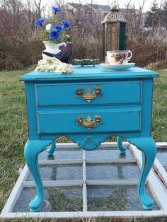 Antique Turquoise Shabby Chic End Table. Handpainted/furniture/cottage/upcycle/distressed/eco/country/farm/vintage/wood/primitive/chalk. $150.00, via Etsy.