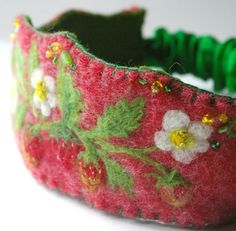 Wild Strawberry Felted Wool Crown : Handmade & Natural, Waldorf Tradition (Dress Up, Birthday)