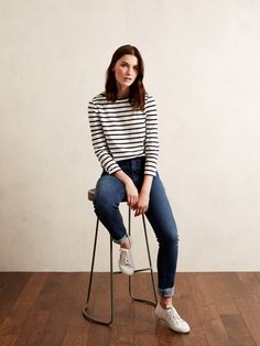Winter Breton Top and Straight Mid-Rise Indigo Jeans