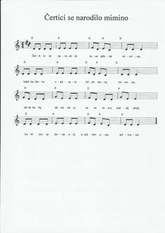 Čertici se narodilo mimino Advent, Sheet Music, Songs, Education, Carnavals, Music Score, Teaching, Music Notes, Song Books
