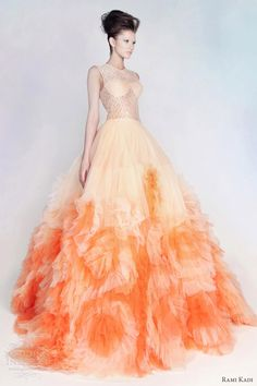 rami kadi spring 2013 couture ombre orange peach lace tulle ball gown