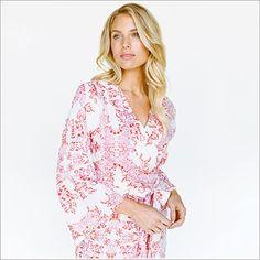 Kimono Style Robe. Knee Length. Sweet Love and Yonderflies