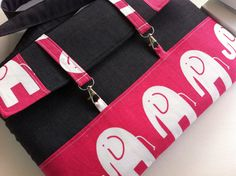 BRAND NEW  DESIGN-10% off Sale-Macbook & other Brands laptop bag-Removable and shoulder strap-Elephant hot candy pink on white and Soft grey