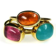 Evangelatos Stackable Small Stone Rings, 18k Gold and a choice of Gemstones: Tourmaline, Aquamarine and Citrine Shown. Athena's Treasures: http://www.athenas-treasures.com/