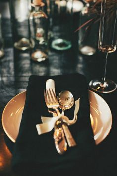 Ribbon tied silverware