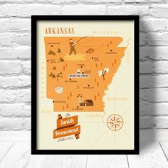 Arkansas  Map Personalized Family name Custom by ConsiderGraphics, $25.00