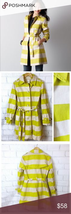 """Loft Striped Limeaid Trench Medium Loft Stripe Lined Trench in Limeade. $148. Great piece for spring! Flaw it does have very small spots on the upper right near shoulder and 2 on the right arm. Very faint and hard to photograph. Lightweight and 100% cotton. Size Medium 0313 Measurements flat Length 36"""" Bust 19"""" Sleeves 24.5"""" Bundle in my closet and save. I ship same day or next day almost always. No LOFT Jackets & Coats Trench Coats"""
