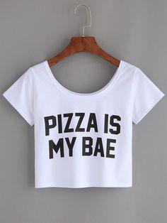 Camiseta letras estampadas crop -blanco                              …