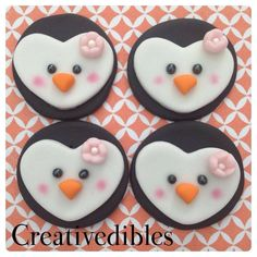 Penguine Fondant cookie, cupcake Toppers