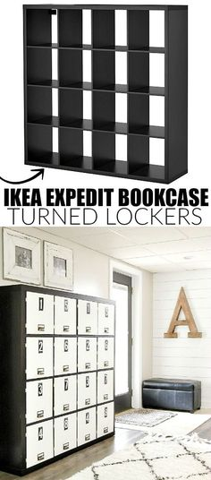 THIS IS AMAZING! An IKEA Expedit bookcase gets turned into a gorgeous set of lockers! Find the full tutorial at http://Littlehouseoffour.com