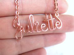 Name Necklace Copper Personalized Necklace Up to 9 Letters Word Necklace Wire Wrapped Jewelry Gifts Under 20