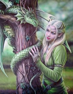 Kindred Spirits Dragon Wall Plaque Art Print - Anne Stokes Elf Maiden with…