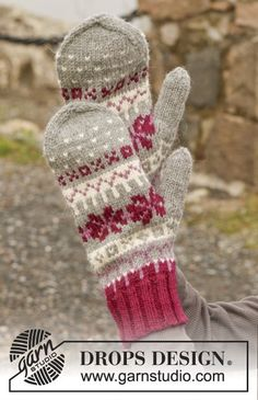 Knitted DROPS mittens with Nordic pattern in Lima. Free knitting pattern by DROPS Design. Crochet Gloves Pattern, Mittens Pattern, Knit Mittens, Knitted Gloves, Knitting Socks, Free Knitting, Knit Crochet, Crochet Patterns, Drops Design