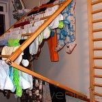 Wall Mounted Clothes Drying Rack, Perfected  I already have crib rails that I am going to use - this makes it even better!