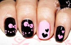 Cute Pink Heart Hello Kitty Nails #hello-kitty #nails www.loveitsomuch.com soo so so cuteee!!!