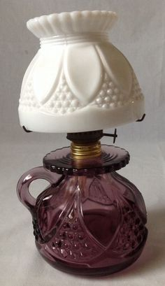 Film star antique victorian c1880 hinks oil lamp hand painted vintage amethyst glass miniature oil lamp w finger loop handle milk glass shade mozeypictures Image collections