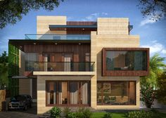 Poddar Residence, Jaipur by Abhinav Gupta, Architect in Panchkula,Haryana, India Modern Bungalow Exterior, Modern House Facades, Modern Exterior House Designs, Dream House Exterior, Exterior Design, Bungalow House Design, House Front Design, Villa Design, Facade Design