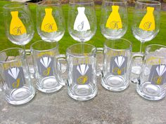 Yellow and gray Wedding party glasses, wine glasses and beer glasses.  Bridesmaid and Groomsmen gifts. Dress and tux glasses. via Etsy