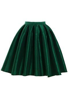 Modest emerald green metallic full a-line skirt | Mode-sty tznius fashion