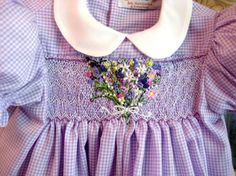 Hand Smocked Hand Embroidered Girls Dress, Size 2/A Dressful of Blooms from Rabbit Whiskers