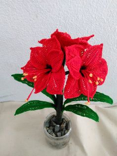 Create your own stunning Amaryllis flower arrangement. One that will surely create a blissful and festive environment. Create this unique flower arrangement as the perfect gift. All made by hand! Crochet Flower Tutorial, Crochet Flower Patterns, Flower Applique, Crochet Patterns Amigurumi, Crochet Flowers, Unique Flower Arrangements, Unique Flowers, Primrose Plant, Crochet Bouquet