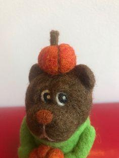 Needle Felted Animals, Felt Animals, Needle Felting, Halloween Gifts, Soft Sculpture, Unique Jewelry, Handmade Gifts, Teddy Bear, Etsy