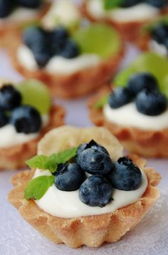 tartlets with fruits and mint