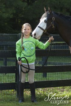 "Girl's equestrian fashion - Equestrian Prep Collection ""Equestrian Sports"" crewneck pullover sweatshirt from Stirrups Clothing Company"