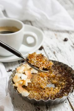 Coffee coconut quinoa brulee - freshly brewed espresso and coconut milk provide…
