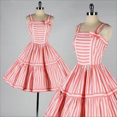 vintage 1950s dress . pink white cotton . by millstreetvintage, $142.00